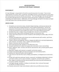 Project Manager Duties Sample Construction Project Manager Job Description 8