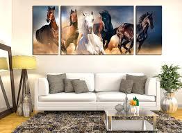 piece canvas wall art horses decor panoramic panel print living room multi horse wildlife group australia