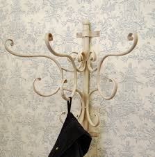 Wall Mounted Coat Hanger Rack shabbywallcoathooksonwood Shabby chic ornate cream metal wall 59