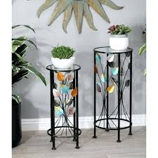 glass plant stand top multi colored iron and glass stems and leaves round plant stands pedestal glass plant stand