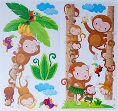 Kids Growth Chart Banana Tree With Monkeys Jungle Bird