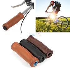 2 pcs vintage bike bicycle leather handlebar cover bike grips bar leather ends