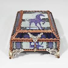 Stained Glass Jewelry Box Designs Amazon Com Unicorn Stained Glass Jewelry Box Handmade