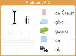 Alphabet Tracing Worksheet Writing Az Stock Vector Art & More ...