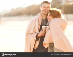 couple in love are facing each other on the day of the holy vale stock image