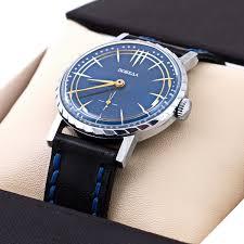 pobeda 2602 blue leather strap