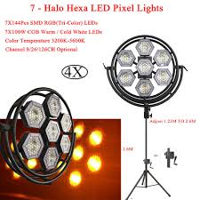 Led Equipment Lights Us 62 4 22 Off 4pcs Lot New Dj Equipment 7 Halo Hexa Led Pixel Lights 7x144 Rgb 3in1 Leds And 7x100w Cob Warm Cold White Leds Stage Lighting In
