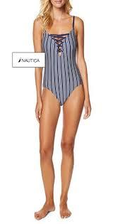 Nautica Black White Striped Lace Up Grommets Detail Swimwear Style No Bl P006t One Piece Bathing Suit Size 16 Xl Plus 0x