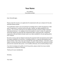 Sales Associate Cover Letter With No Experience Job And Resume