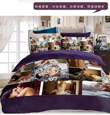 Great Stylish Coral Fleece Adult Bedding Set Sexy Quilt Cover Loves Mens Girls  Adult Bed Sets Decor