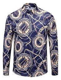 Designer Clothing Brands Mens Pizoff Mens Long Sleeve Luxury Design Print Dress Shirt