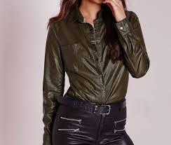 missguided faux leather shirt khaki beige women