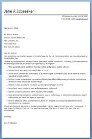 Lab Technician Cover Letter Examples | Creative Resume Design ...