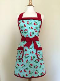 Retro Cherry Kitchen Decor Retro Apron Turquoise And Red Cherry Print With White Polka Dots