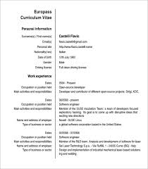 Curriculum Vitae Formats Best 48 Europass Curriculum Vitae Samples Sample Templates