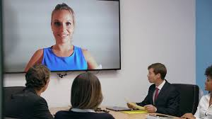 office meeting. 6 Business People In Office Meeting Room Doing Video Conference Stock Footage - Videoblocks