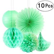 Paper Flower Balls To Hang From Ceiling Summer Mint Green Teal Blue Party Hanging Paper Fans Tissue Paper Flowers Decorations Hawaiian Luau Ceiling Hangings Baby Shower Wedding Party