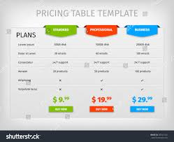 Pricing Table Templates 022 Business Plan Websites Stock Vector Comparison Of