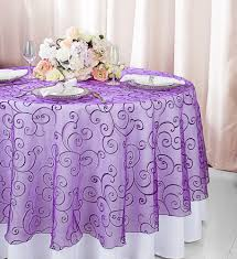 108 round seamless embroidered organza table overlay purple 95843 1pc pk