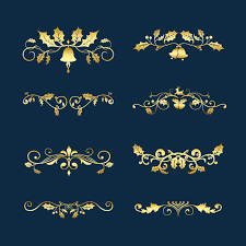 Set Of Decorative Christmas Designs For Cards Vector Vector Free