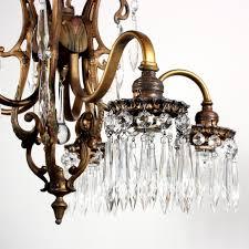 wonderful antique polychrome art nouveau chandelier with prisms preservation station nashville tn