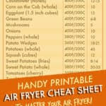 Air Fryer Cooking Times Cheat Sheet Recipes From A Pantry