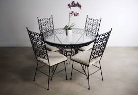 Arthur Umanoff Wrought Iron Dining Set Table 4 Chairs Abt Modern