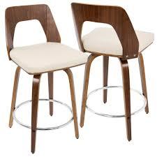 mid century modern stools. Lumisource Trilogy Walnut And Cream Mid-Century Modern Counter Stool Mid Century Stools