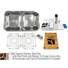 bella 32 inch premium 16 gauge stainless steel undermount 50 50 double bowl kitchen sink