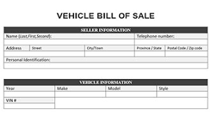 Personal Bill Of Sale For Car Vehicle Bill Of Sale Form