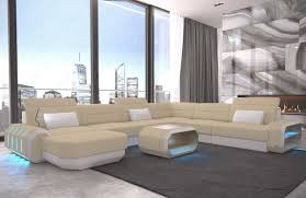 Details About Wohnlandschaft Materialmix Roma Xxl Designcouch Polstersofa Led Beleuchtung Usb