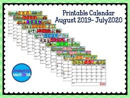 August Theme Calendar Printable Calendar August 2019 July 2020