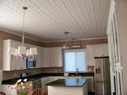 tin ceiling tiles pattern 209 in white easily installed in a kitchen