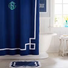 emma ribbon trim shower curtain royal navy