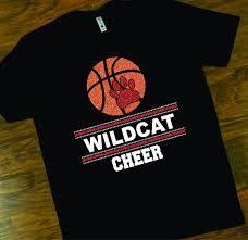 Basketball Cheer Shirt Designs School Spirit Wildcats Basketball Cheer Tee Wildcats