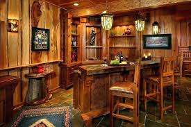 Wooden Bar Ideas Furniture For Basement Rustic Home With Slate Tile Floor Wood Paneling Chair