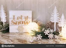 Wooden Christmas Sign With Lights Wooden Holiday Let Snow Sign Christmas Trees Ornaments