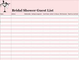 Guest List Template Free Image 15 Free Bridal Shower Guest List
