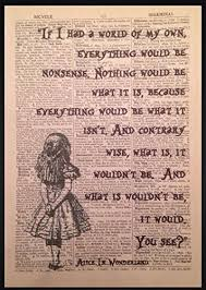 Alice In Wonderland Quote Amazing Alice In Wonderland Quote Print Vintage Dictionary Picture Wall Art