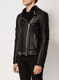 black shearling biker jacket from balmain men jackets balmain shoe balmain sweater dress