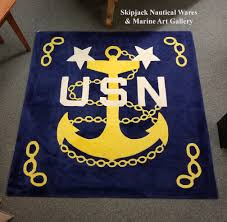1980 s vintage custom made wool rug with yellow fouled anchor and chains white usn and stars all on a navy ground with u s navy master chief petty offi