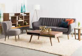extraordinary mid century modern living room ideas dark grey decorative couch beige fur rug wooden rectangle