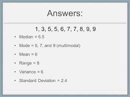 Mean Median Mode Range and Standard Deviation Worksheet Answers ...