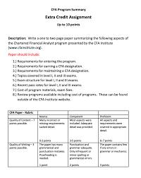 Cfa Designation Description Solved Cfa Program Summary Extra Credit Assignment Up To