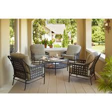 hampton bay lynnfield 5 piece patio conversation set with gray beige cushions