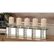 clear glasirror 5 bobeche rectangular candle holder