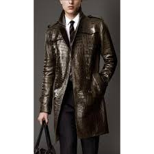 alligator skin leather men s trench coat for leather jackets