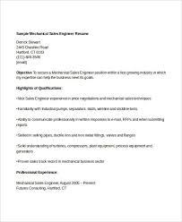 Sales Mechanical Engineer Resume