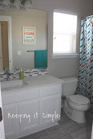 Kids Bathroom Tile Keeping It Simple Kids Gray And White Bathroom Makeover