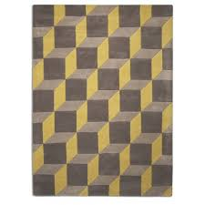 plantation geometric 3d illusion floor rug 100 wool lemon grey